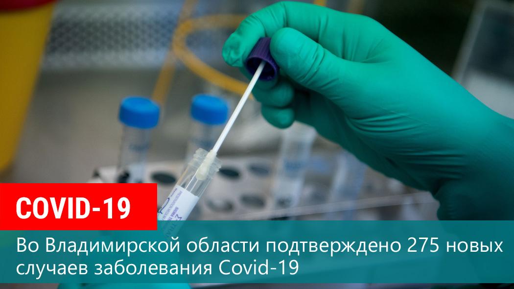 По состоянию на 14 октября во Владимирской области подтверждено 275 новых случаев заболевания Covid-19