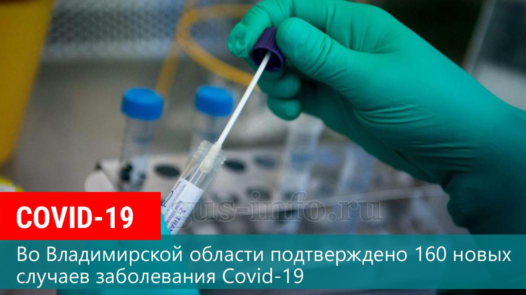 По состоянию на 9 сентября во Владимирской области подтверждено 160 новых случаев заболевания Covid-19